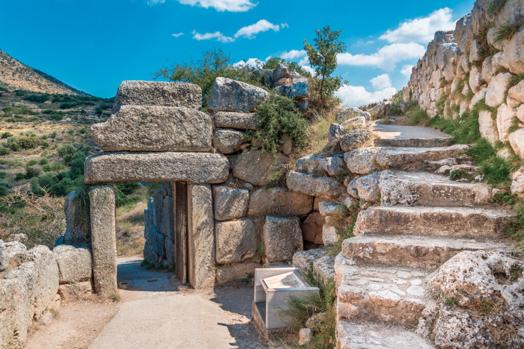 The north gate of the palace of Mycenae. Archaeological site of Mycenae in Peloponnese, Greece