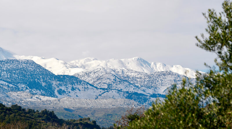 The snowcovered Mount Psiloritis (Mount Ida), Crete Greece