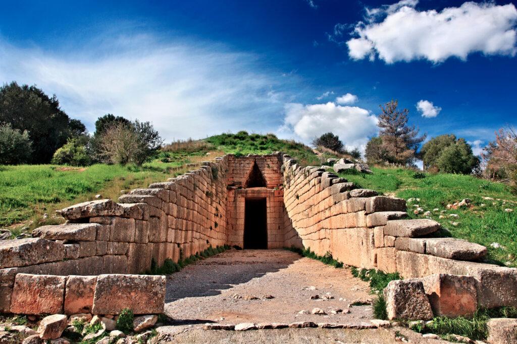 "The entrance of the ""Treasury of Atreus"" (also known as the ""Tholos tomb of Atreus"" or ""Tholos tomb of Agamemnon""), ancient Mycenae, Argolida, Peloponnese, Greece"