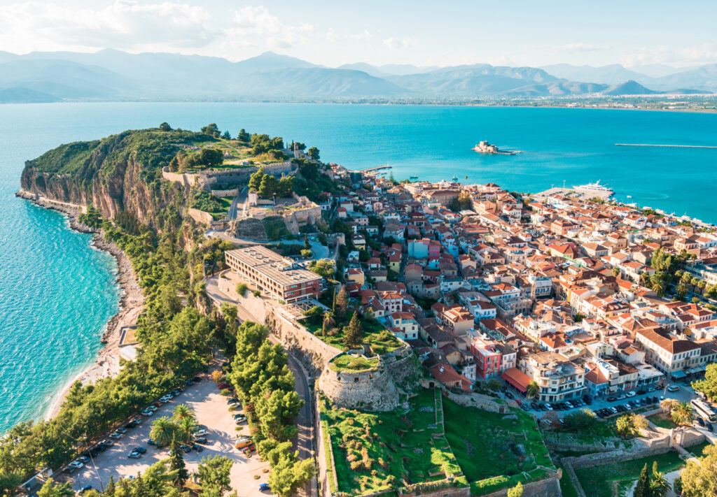 View from Palamidi fortress on Nafplio citadel and the port with Bourtzi fortress, Nafplio Greece