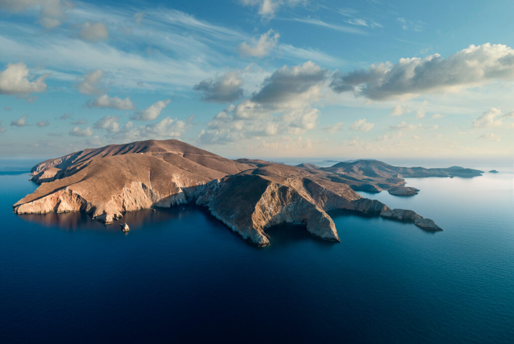 View from drone of Psara island on the north coast, North Aegean Sea, Greece