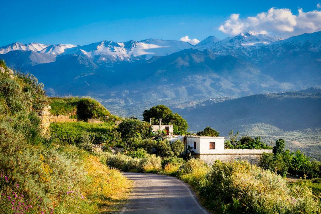 View towards Lefka Ori from Aptera village in Chania region, Crete Greece