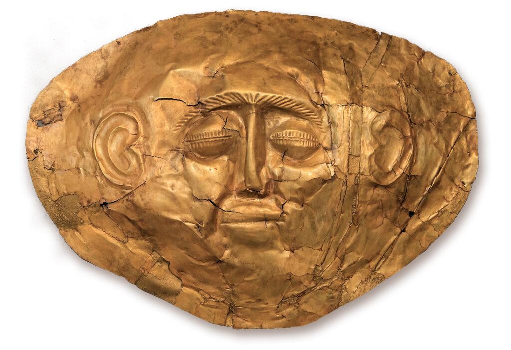 Ancient Mycenae gold mask of Agamemnon, Mycenae Argolis, Greece