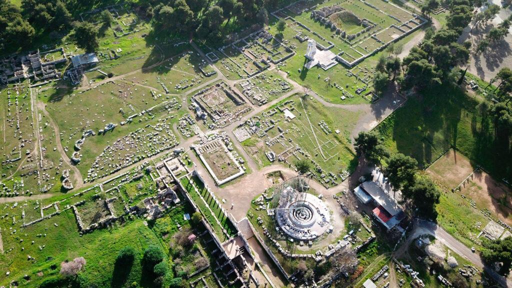 Aerial view of the archaeological site of ancient Epidaurus or Epidavros in Argolida, Peloponnese Greece