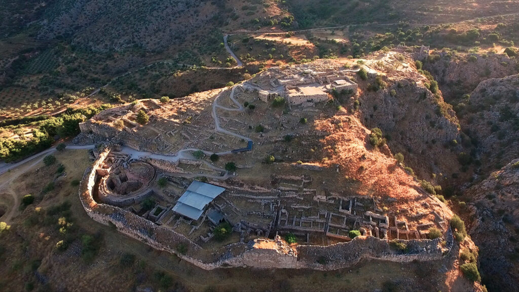 Aerial view of iconic archaeological site of ancient citadel of Mycenae, Peloponnese, Greece