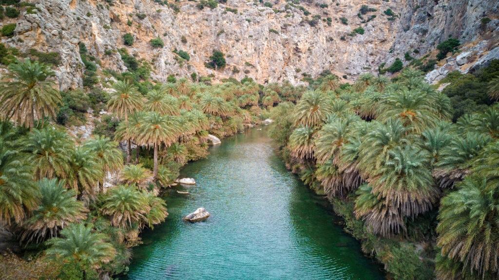 kourtaliotiko river at Preveli beach, Rethymno region, southern Crete Greece