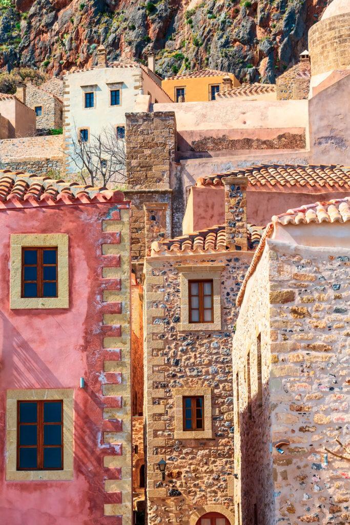 Medieval stone mansions on the castle rock of Monemvasia, Lakonia Peloponnese Greece