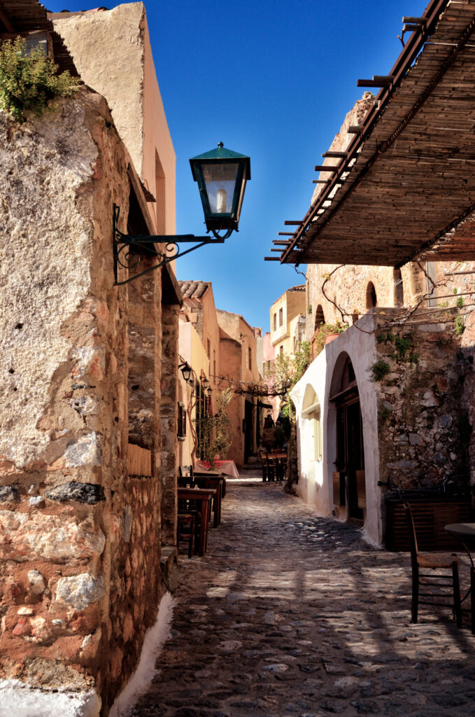 Alley in Monemvasia, the Medieval castle town built on to a seaside rock in Lakonia Peloponnese Greece