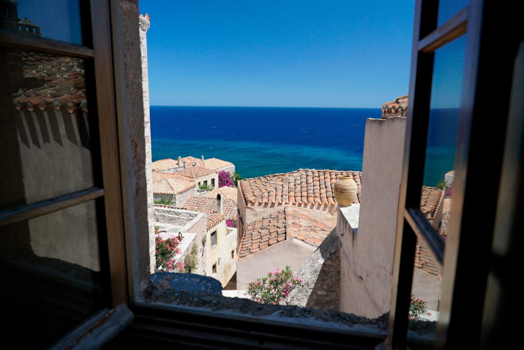 View from a room on the castle rock of Monemvasia, Lakonia Peloponnese Greece
