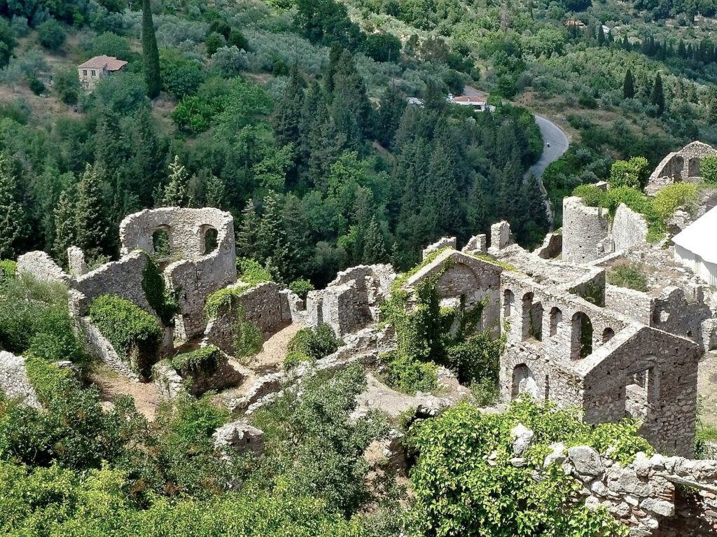 Ruins of Mystras Byzantine Fortress town in southern Peloponnese Greece