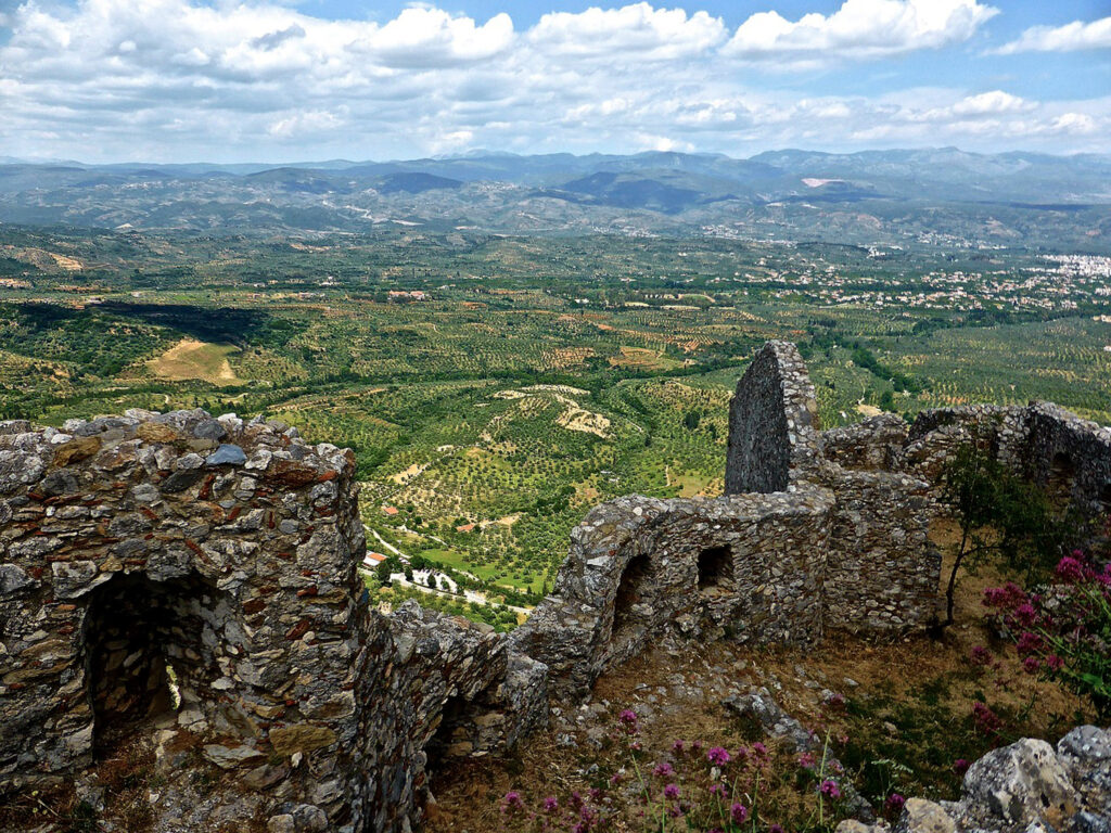 Ruins of Mystras Byzantine Fortress walls in southern Peloponnese Greece