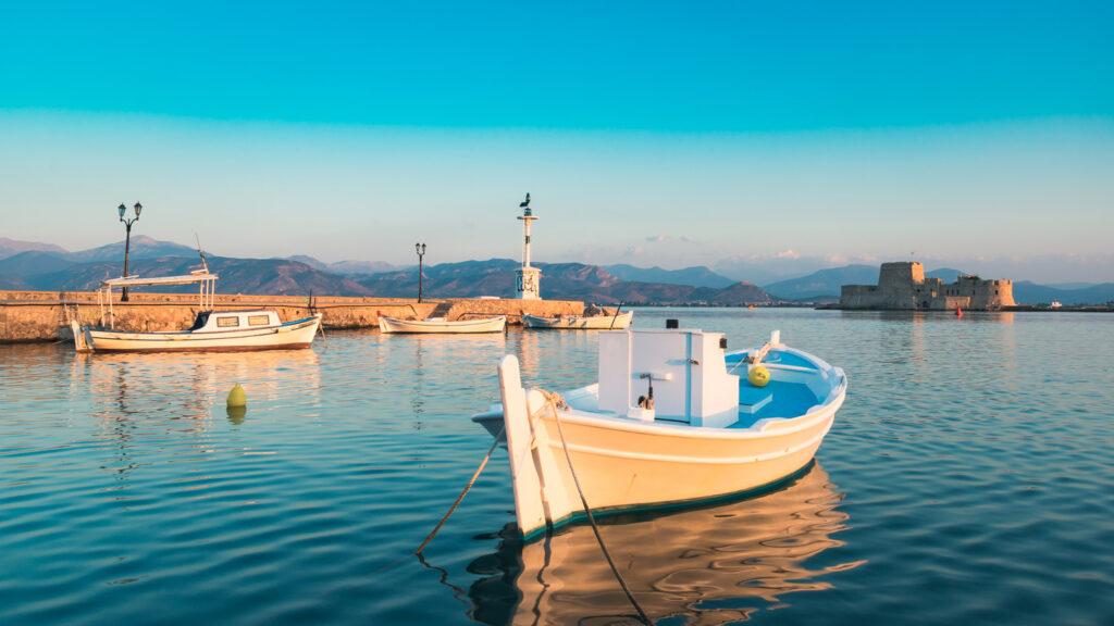Nafplio port with fishing boats, Peloponnese Greece