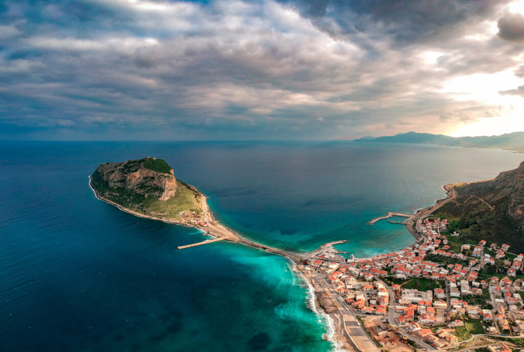 Monemvasia, the Medieval castle town built on to a seaside rock in Lakonia Peloponnese Greece