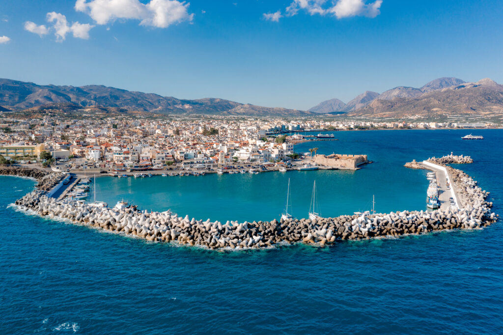 Aerial view of the Kales Venetian fortress at the entrance to the harbor, Ierapetra, Crete, Greece