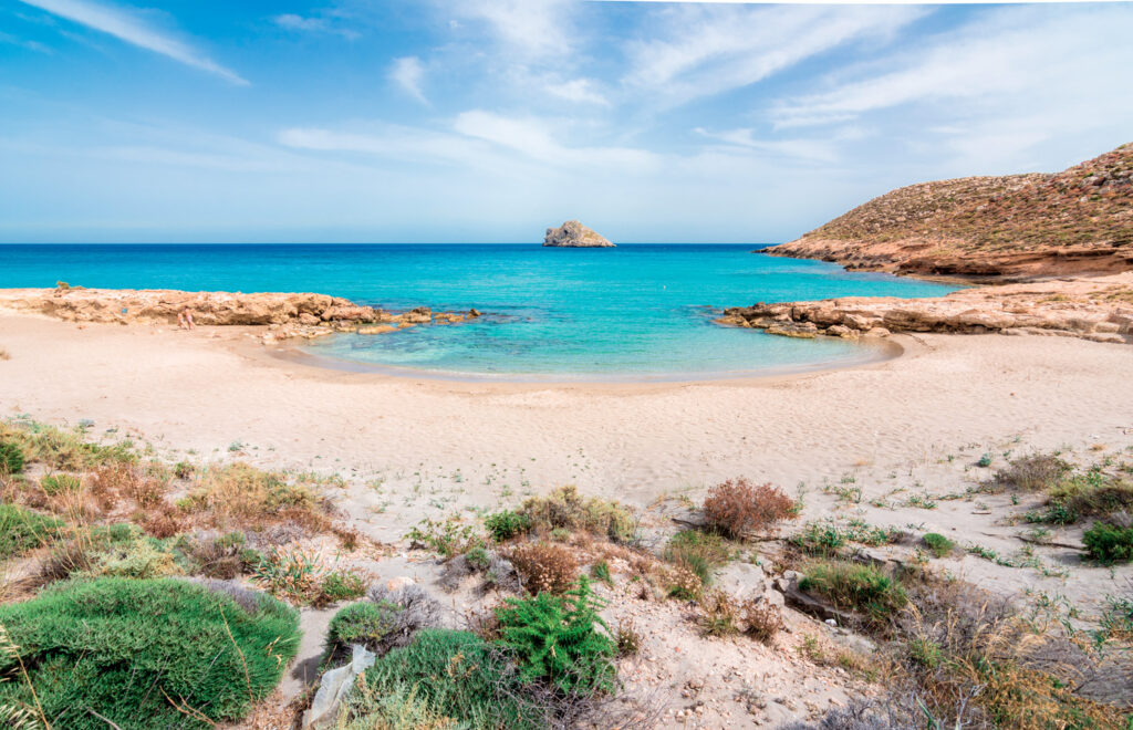 Amazing sandy beach of Xerokampos, Sitia with turquoise waters at the East part of Crete island, Greece