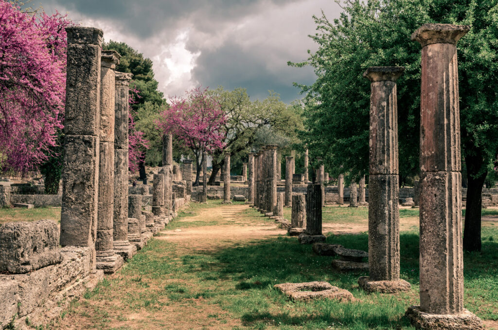 The archaeological site of ancient Olympia. The place where olympic games were born in classical times and where the Olympic torch today is ignited, Peloponnese, Greece