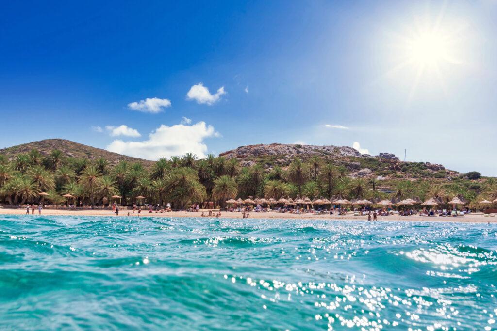 Beautiful Vai beach on Crete with the blue lagoon, Greece