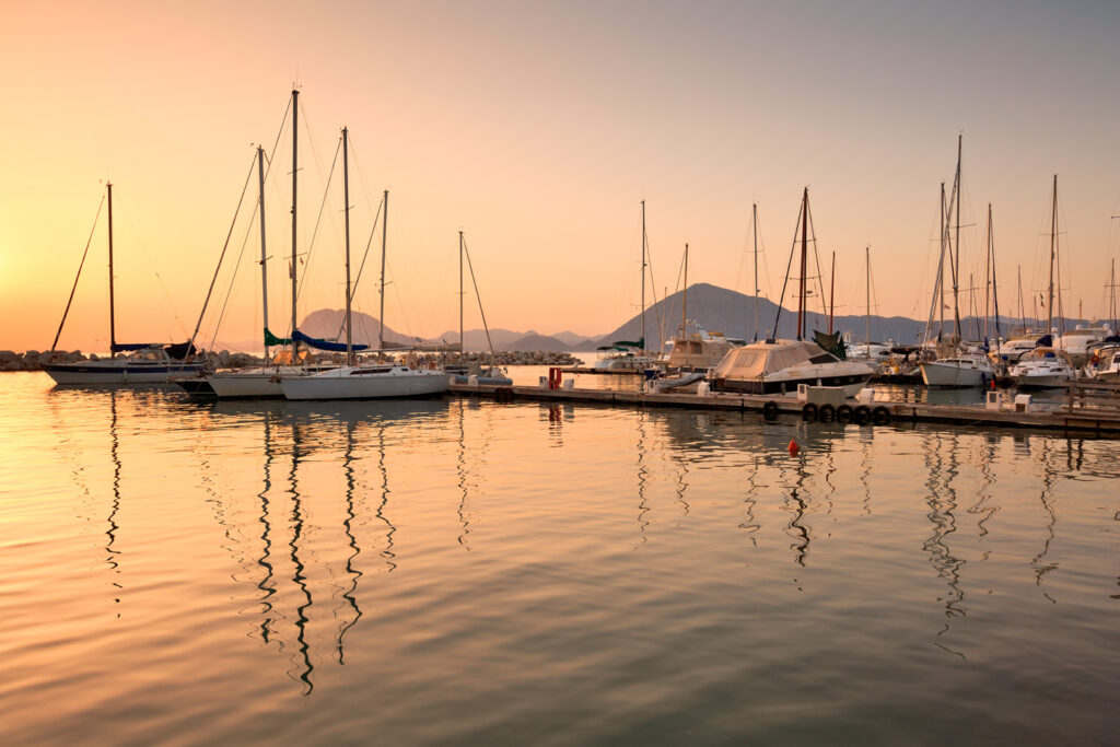 Boats in the marina of Patras, Peloponnese, Greece.