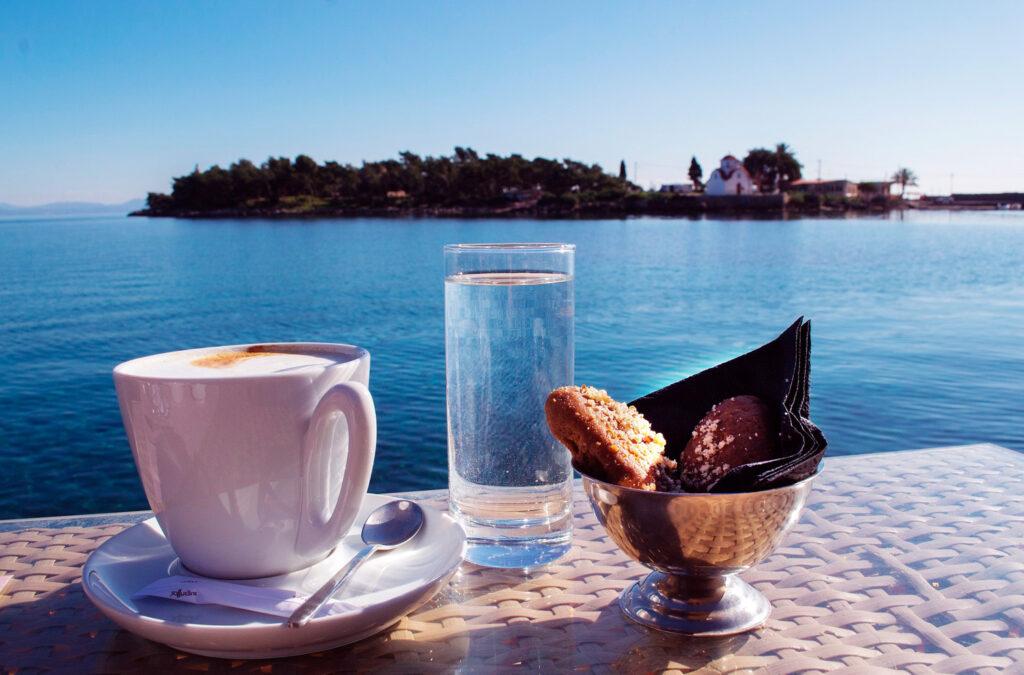 Coffee with a view of Kranae islet next to Gythio port, Mani peninsula, Peloponnese, Greece