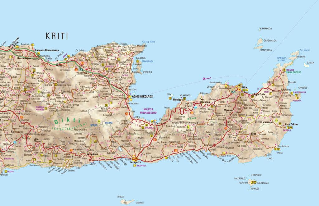 Crete map - Lassithi with Sitia, Agios Nikolaos and Ierapetra, Greece