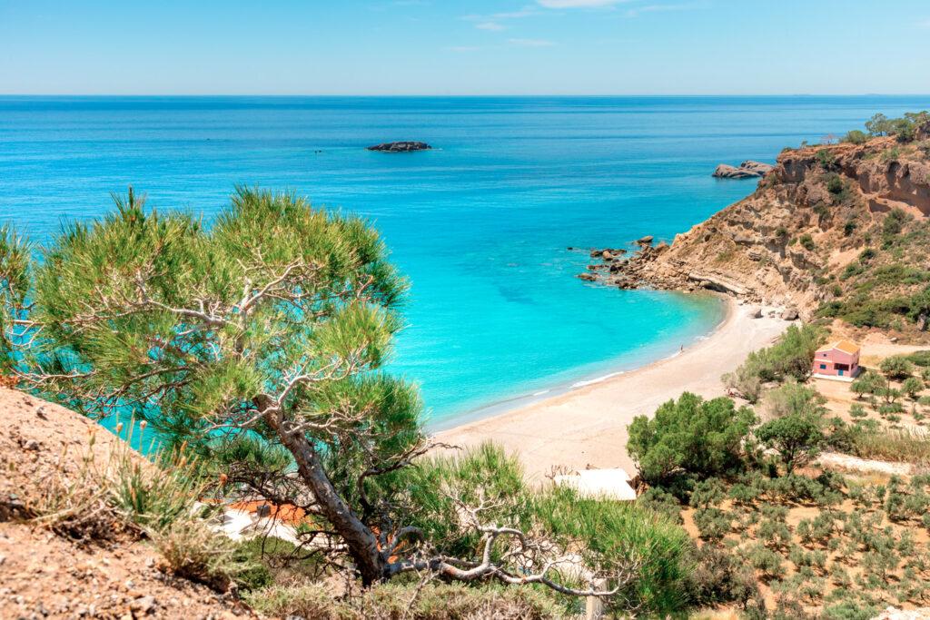 Famous sandy beach of Agia Fotia near Ierapetra, Crete, Greece