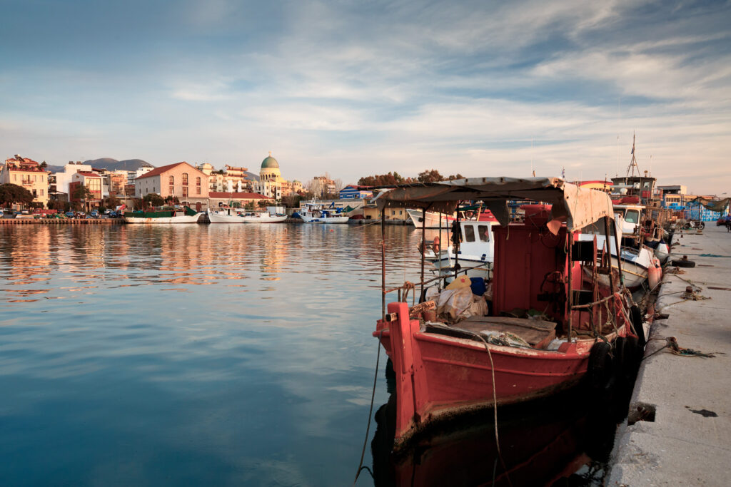 Fishing boats in the port of Patras, Peloponnese, Greece.