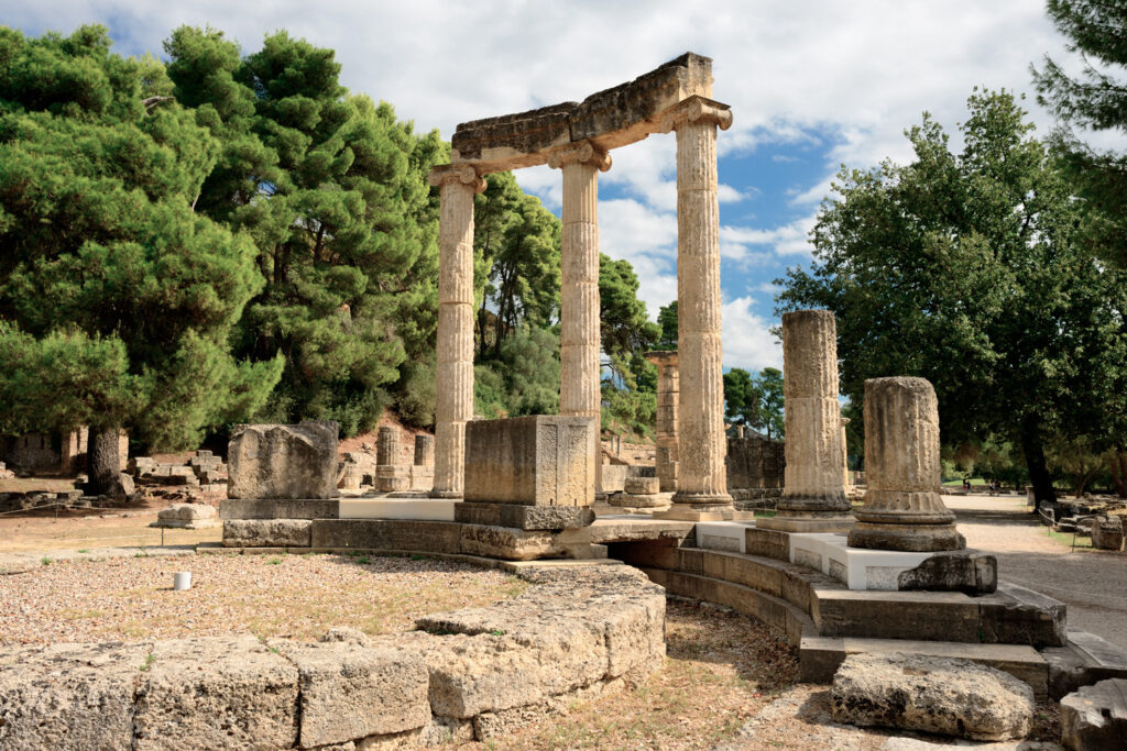 Greece Olympia, ancient ruins of the important Philippeion in Olympia, birthplace of the olympic games - UNESCO world heritage site