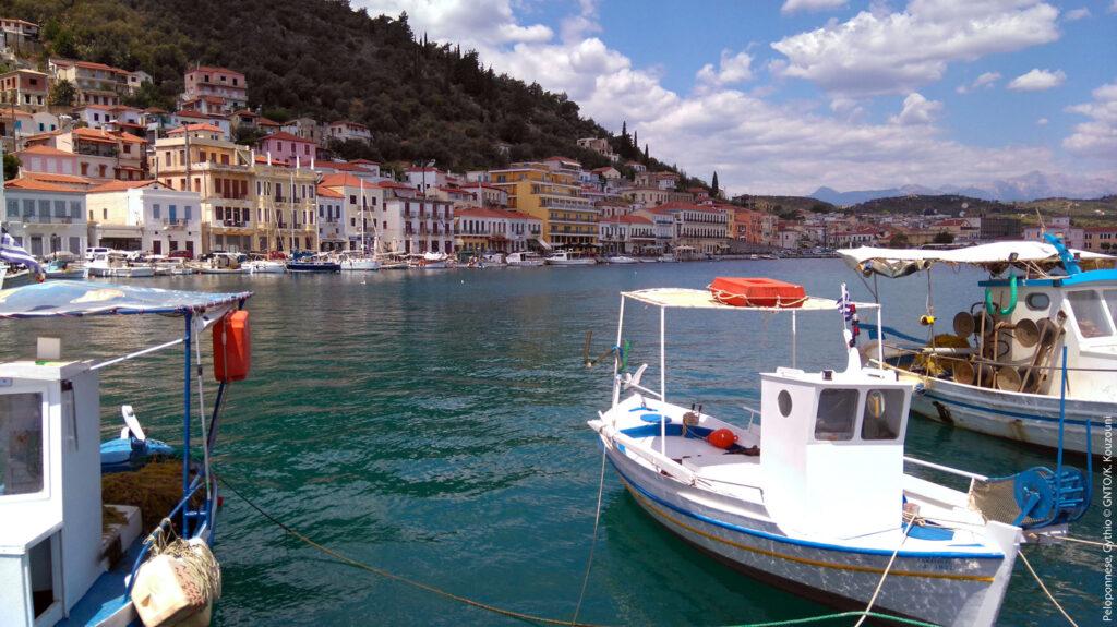 Gythio port with fishing boats in Mani, Peloponnese - Photo by K. Kouzouni