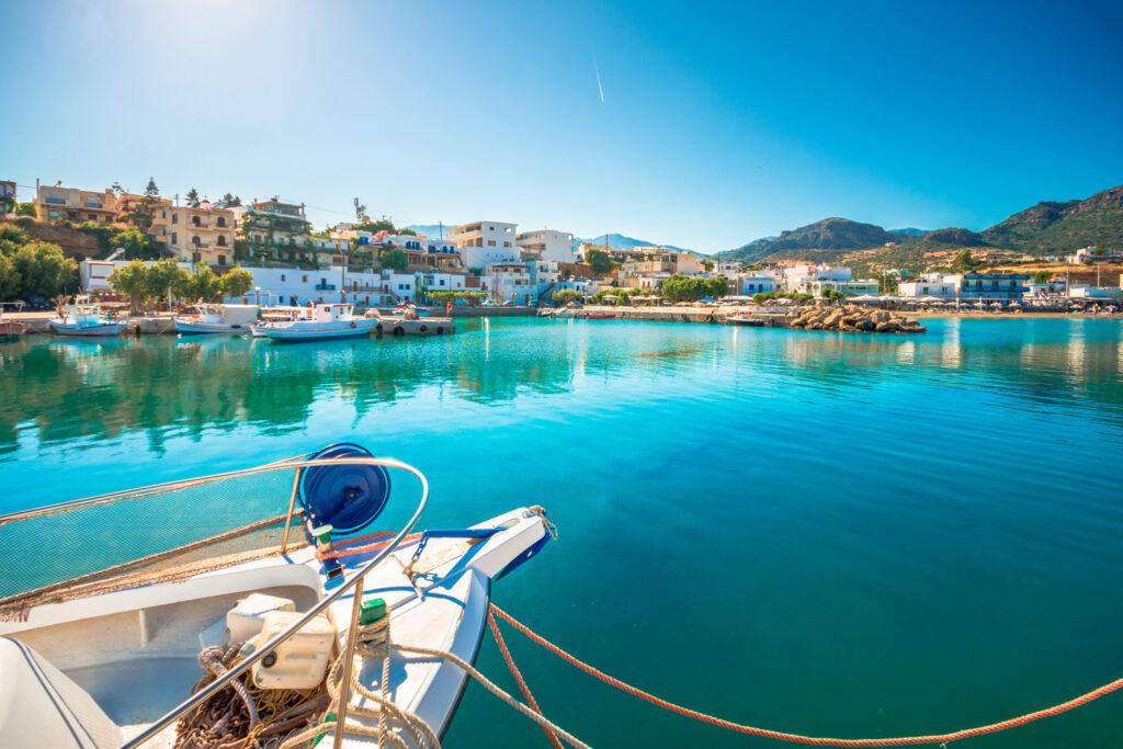 Harbour in Makri Gialos village in southern Crete, Greece