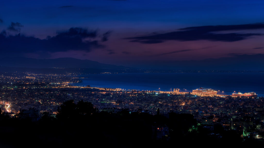 Night view of Patras City in western Greece