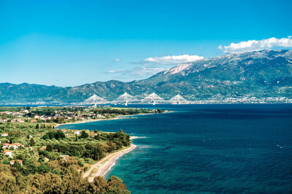 Rio-Antirrio bridge across the Gulf of Corinth near Patras in Greece