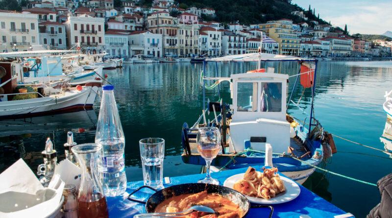 Seafood in Gythio port, Mani Greece - photo by Dana Tentis