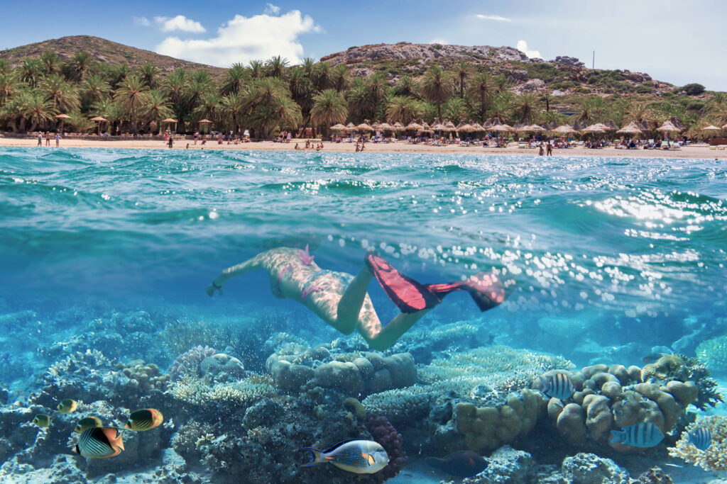 Snorkeling at the beach of Vai with the amazing lagoon in Crete, Greece