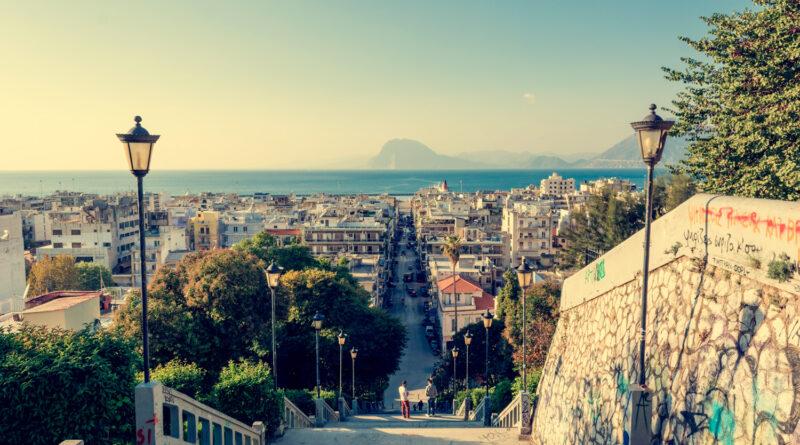 Staircase descending into the city of Patras, Greece