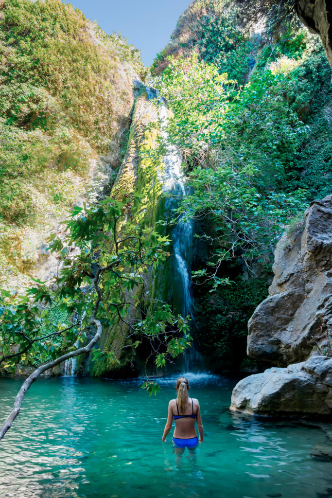 The Richtis Gorge waterfall is located in a state protected park near Exo Mouliana, Sitia, eastern Crete. The hiking trail is about 4 km in length of easy to moderate difficulty.