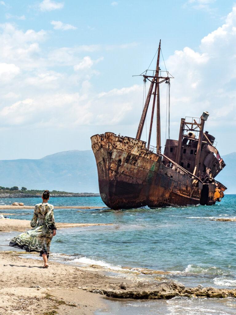 The famous Gytheio shipwreck at sunset at Selinitsa beach, Peloponnese, Greece - Photo Fauve Othon