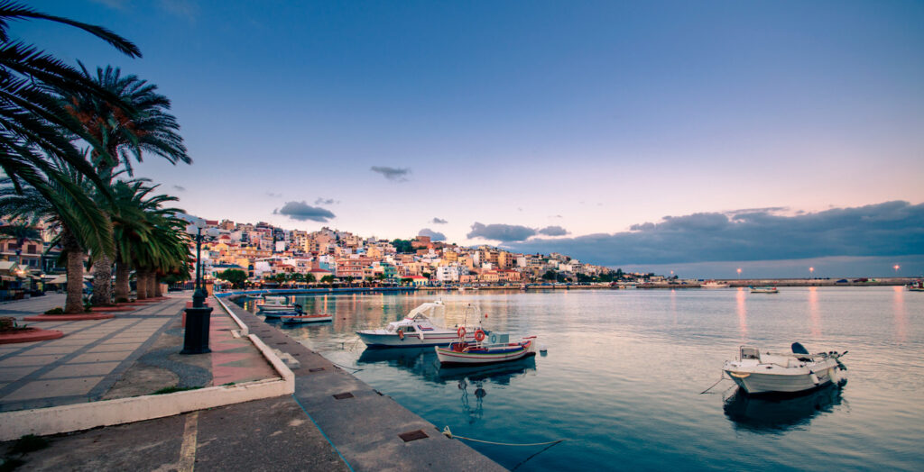 The pictursque port of Sitia at sunset, Sitia is a traditional town at the east Crete near the beach of palm trees, Vai, Crete Greece
