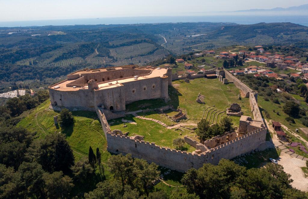 "Medieval Chlemoutsi (""Clermont"") castle, in Kastro village in Kastro-Kyllini, Peloponnese Greece"
