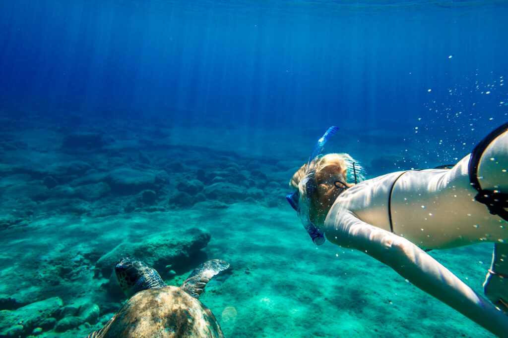 Young woman snorkeling with sea turtle Caretta in turquoise colored waters of the famous Foneas beach near Kardamyli in Mani peninsula, Greece