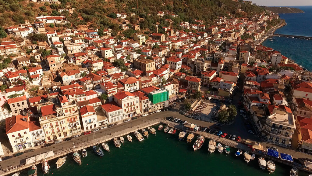 Aerial view of Gythio village and waterfront in Mani, Lakonia Peloponnese Greece