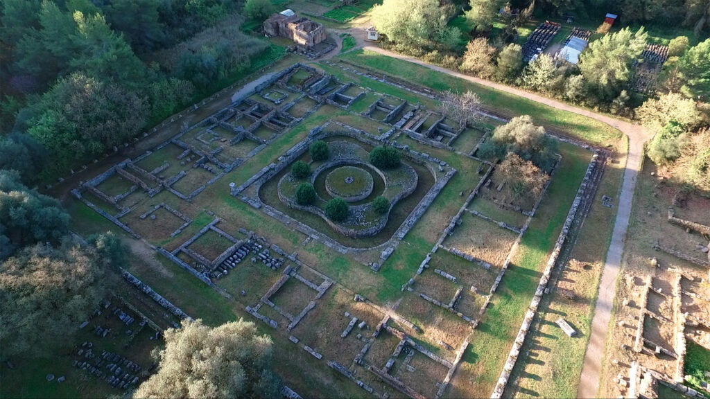 Aerial view of the archaeological site of Ancient Olympia, birthplace of the world famous Olympic games, Peloponnese, Greece