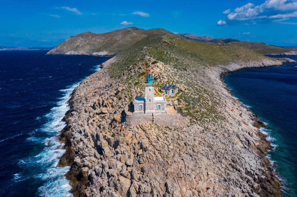 The lighthouse at Cape Tenaro in southernmost Mani, Peloponnese Greece