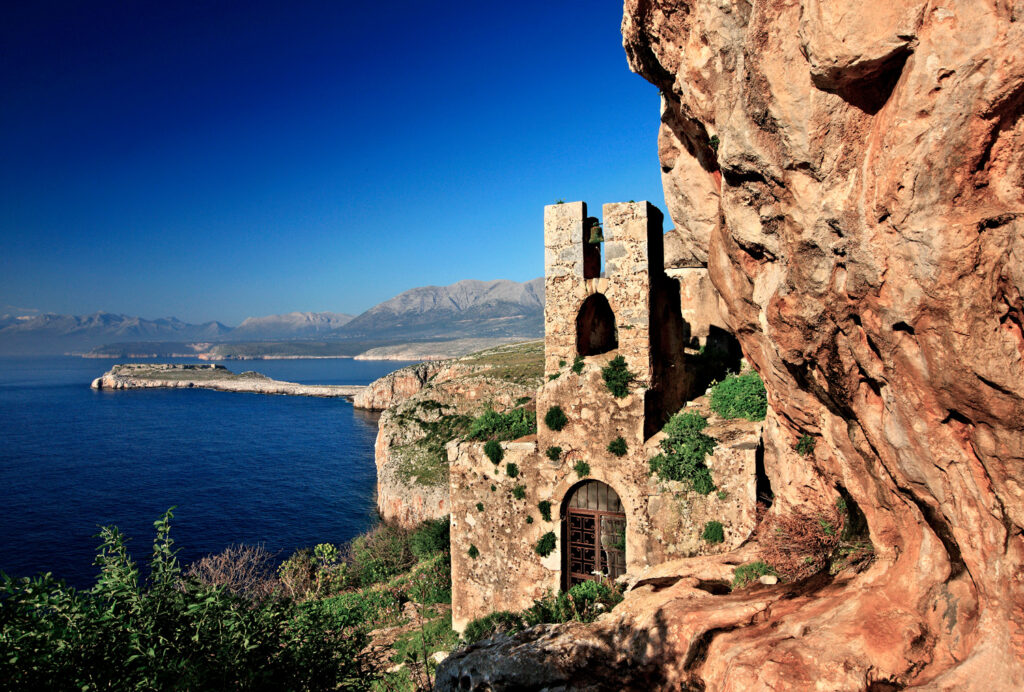 The hidden Byzantine church of Agitra, also known as Panagia, Mani peninsula, Peloponnese Greece