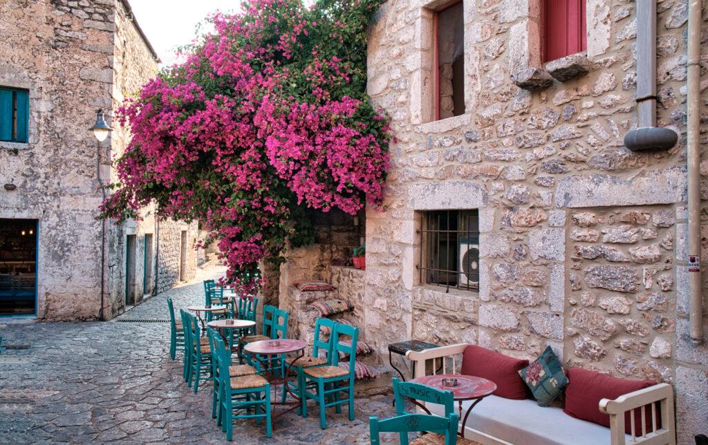 The narrow streets of Aeropoli town in Mani peninsula, Peloponnese Greece