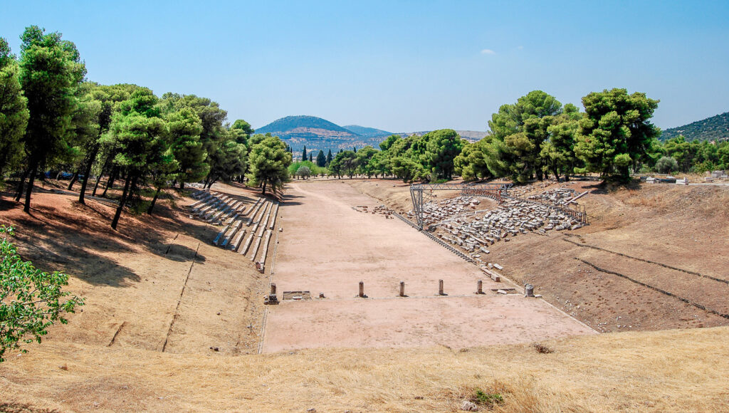 The stadium of Ancient Olympia, Peloponnese Greece