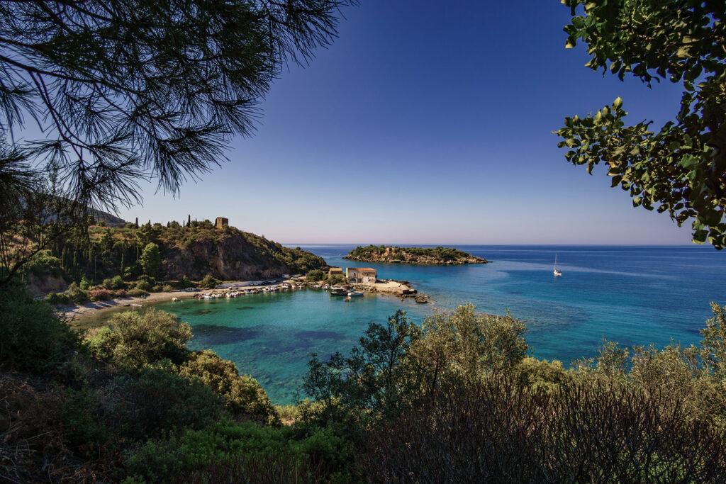 The picturesque port of Kardamyli village in Mani peninsula, Peloponnese Greece