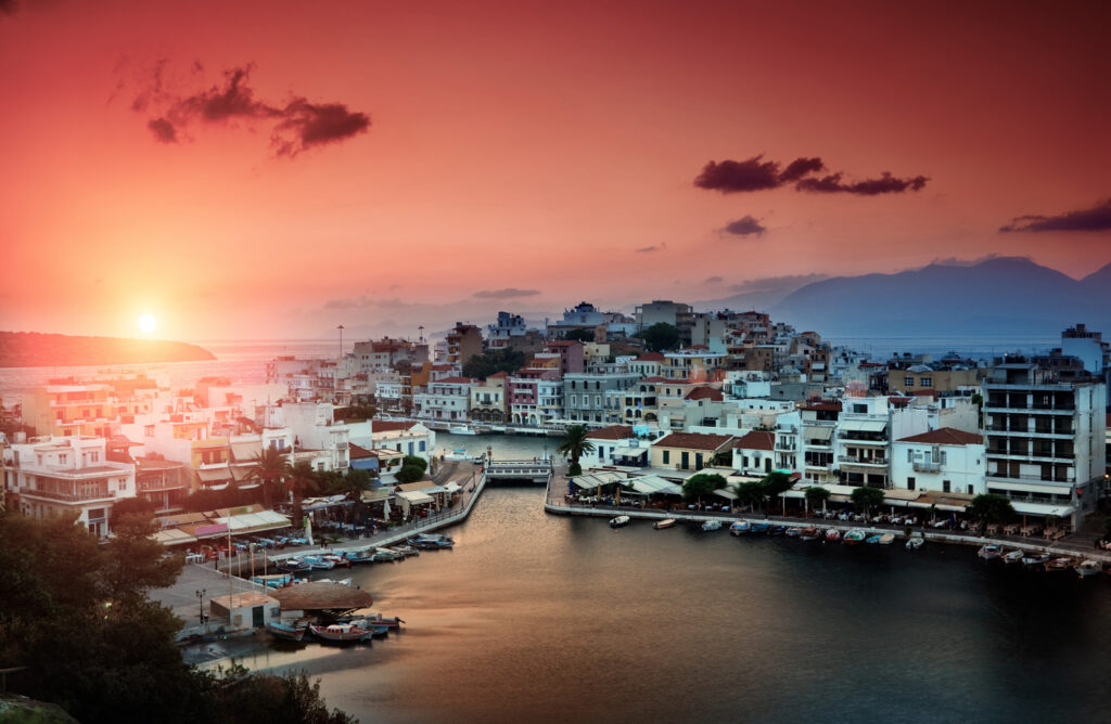 Agios Nikolaos is a picturesque town in the eastern part of the island Crete built on the northwest side of the peaceful bay of Mirabello, Greece