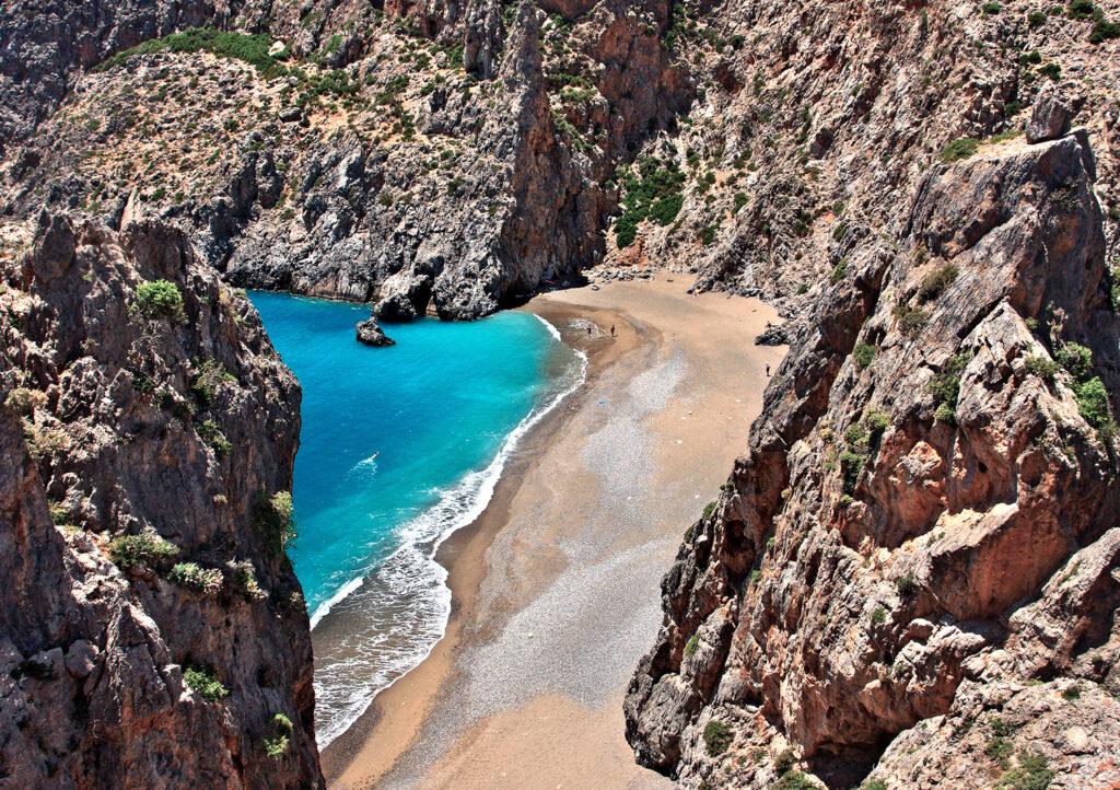 Amazing beach at the exit of Agiofarago Canyon, Municipality of Phaistos, Heraklion prefecture, Crete Greece