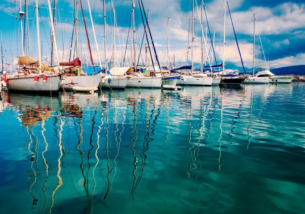 Beautiful yachts in the port of Agios Nikolaos, Mirabello Bay, Crete, Greece