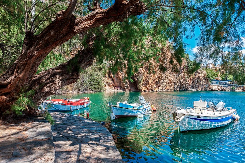 Boats on Lake Voulismeni. Agios Nikolaos, Crete, Greece